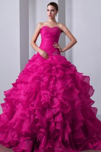 Fuchsia Princess Sweetheart Brush Train Organza Beading And Ruffles Quinceanea Dress