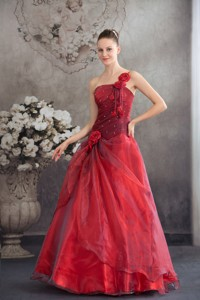 Red One Shoulder Hand Made Flowers Prom Dress