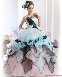 Ruffles Multi Color Quinceanera Dress With Hand Made Flowers