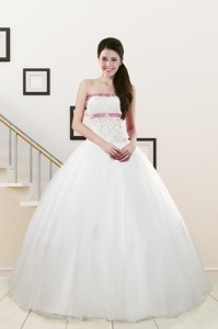 Discount Strapless Appliques And Belt Quinceanera Dress In White