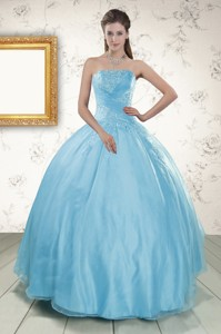 Strapless Beading Affordable Quinceanera Dress In Baby Blue