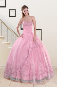 Beading And Appliques Baby Pink Quinceanera Dress