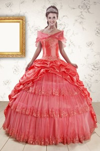 New Style Appliques Quinceanera Dress In Watermelon