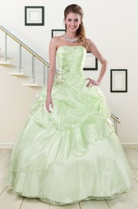 Cheap Strapless Yellow Green Quinceanera Gowns With Beading