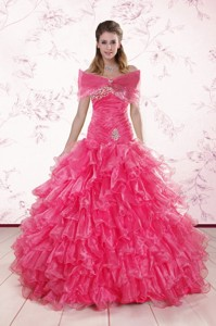Elegant Sweetheart Hot Pink Quinceanera Dress With Ruffles