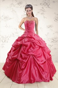 Cheap Appliques Quinceanera Dress In Red
