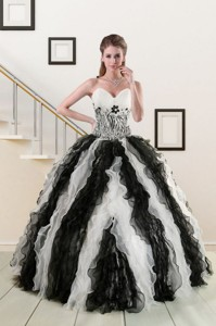 Exclusive Black And White Quinceanera Dress With Zebra And Ruffles