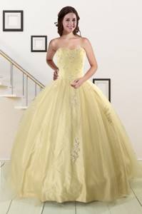 Latest Appliques Quinceanera Dress In Light Yellow