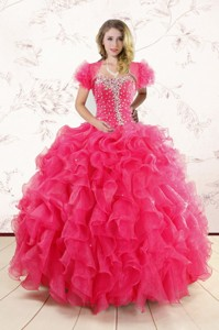 Hot Pink Ruffles And Beaded Wonderful Quinceanera Dress