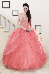 Watermelon Sweetheart Beading Appliques Ball Gown Sweet 16 Dress