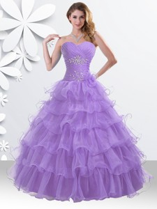 Princess Lilac Sweet 16 Gown with Beading and Ruffled Layers