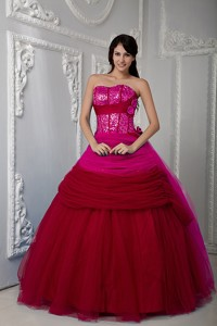 Fuchsia Ball Gown Sweetheart Floor-length Tulle Ruch Quinceanea Dress