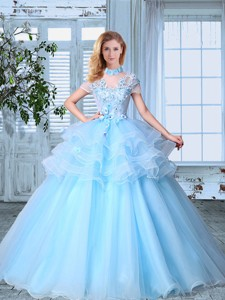 High Neck Short Sleeves Light Blue Prom Gown with Appliques and Ruffled Layers