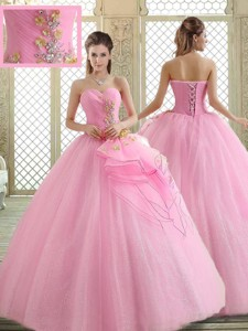 Hot Sale Sweetheart Rose Pink Quinceanera Dress With Beading