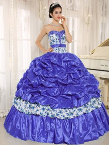 Beaded and Pick-ups For Blue Quinceanera Dress Taffeta and Printing