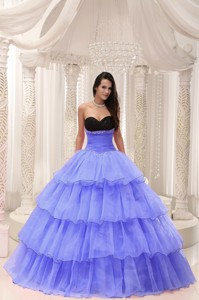 Purple Sweetheart Beaded and Layers Ball Gown Quinceanera Dress Taffeta and Organza