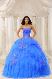 Custom Made Aqua Blue Sweetheart Embroidery For Quinceanera Wear In