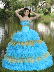 Beaded Decorate Bust Sequins Organza Aqua Blue and Yellow Strapless Floor-length Tiered Sweet Quince