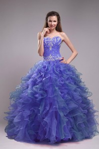 Blue Ball Gown Sweetheart Floor-length Orangza Appliques Quinceanera Dress