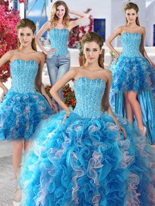 Romantic Beaded And Ruffled Detachable Quinceanera Dress In Organza