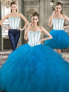 Exclusive Beaded And Ruffled Detachable Quinceanera Dress In Blue And White
