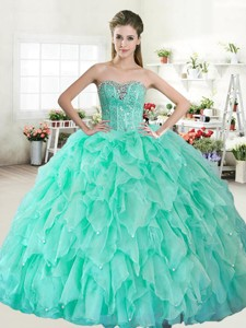 Visible Boning Beaded Bodice and Ruffled Layers Quinceanera Dress in Apple Green
