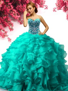 Exquisite Organza Turquoise Sweet 16 Dress with Beading and Ruffles