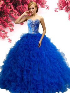 Cheap Beaded and Ruffled Tulle Quinceanera Dress in Royal Blue
