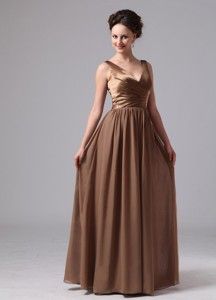 Brown V-neck Dama Dress For Custom Made Satin And Chiffon In Blairsville Georgia