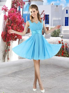 Popular Mini Length Quinceanera Dama Dress In Aqua Blue