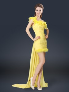 Sweet One Shoulder Watteau Train Quinceanera Dama Dress In Yellow