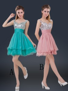 Wonderful Short Straps Paillette Quinceanera Dama Dress For Summer