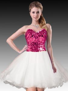 Simple Short White Dama Dress with Hot Pink Sequins