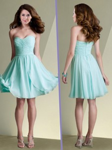 New Arrivals Empire Ruched Chiffon Short Dama Dress in Aqua Blue