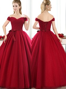 New Arrivals Off The Shoulder Wine Red Quinceanera Dama Dress With Bowknot