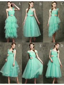 Exclusive Hand Made Flowers Ankle Length Quinceanera Dama Dress In Apple Green