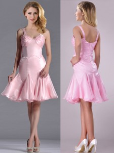 Lovely Beaded Bust Straps Short Dama Dress In Baby Pink