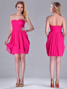 Simple Empire Sweetheart Chiffon Hot Pink Short Dama Dress For Homecoming