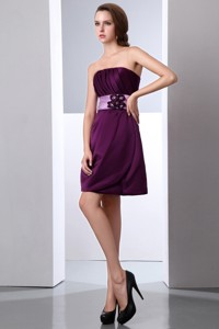 Dark Purple Strapless Cocktail Dress Hand Made Flower And Ruch Mini-length Satin