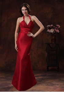 Athens Alabama Red Mermaid Halter Quinceanera Dama Dress In Wedding Party Wear