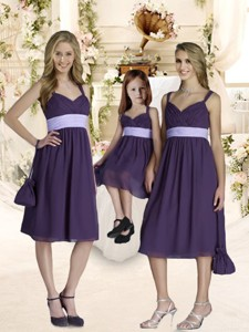 Elegant Empire Straps Purple Quinceanera Dama Dress With Ruching And Belt