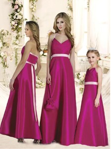 Luxurious Halter Top Sashes Quinceanera Dama Dress In Hot Pink