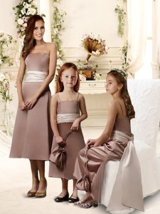 Natural Brown Tea Length Quinceanera Dama Dress With Sashes