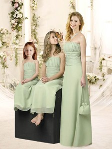 Elegant Apple Green Chiffon Quinceanera Dama Dress With Ruching