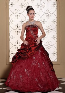 Modest Embroidery Decorate Quinceanera Dress Strapless Beauty Wine Red Gown