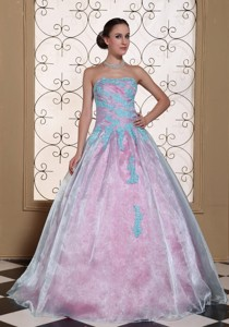 Light Blue Appliques On Organza Strapless Lovely Quinceanera Dress