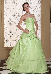 Beaded Decorate Bust Sweet Prom Dress Yellow Green Taffeta And Organza Gown