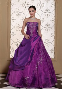 Modest Purple Prom Dress Taffeta And Organza With Embroidery