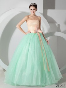 Strapless Apple Green and Pink Organza Sash and Ruching Quinceanea Dress