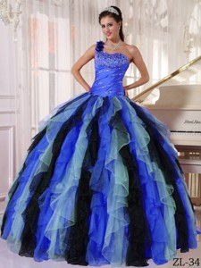 Multi-colored Ball Gown One Shoulder Floor-length Organza Beading and Ruffles Quinceanera Dress